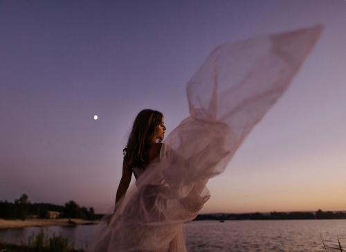 свадебное платье закат фото