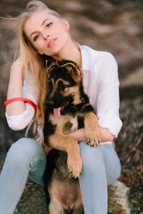 женская фотосессия со щенком Харьков фото